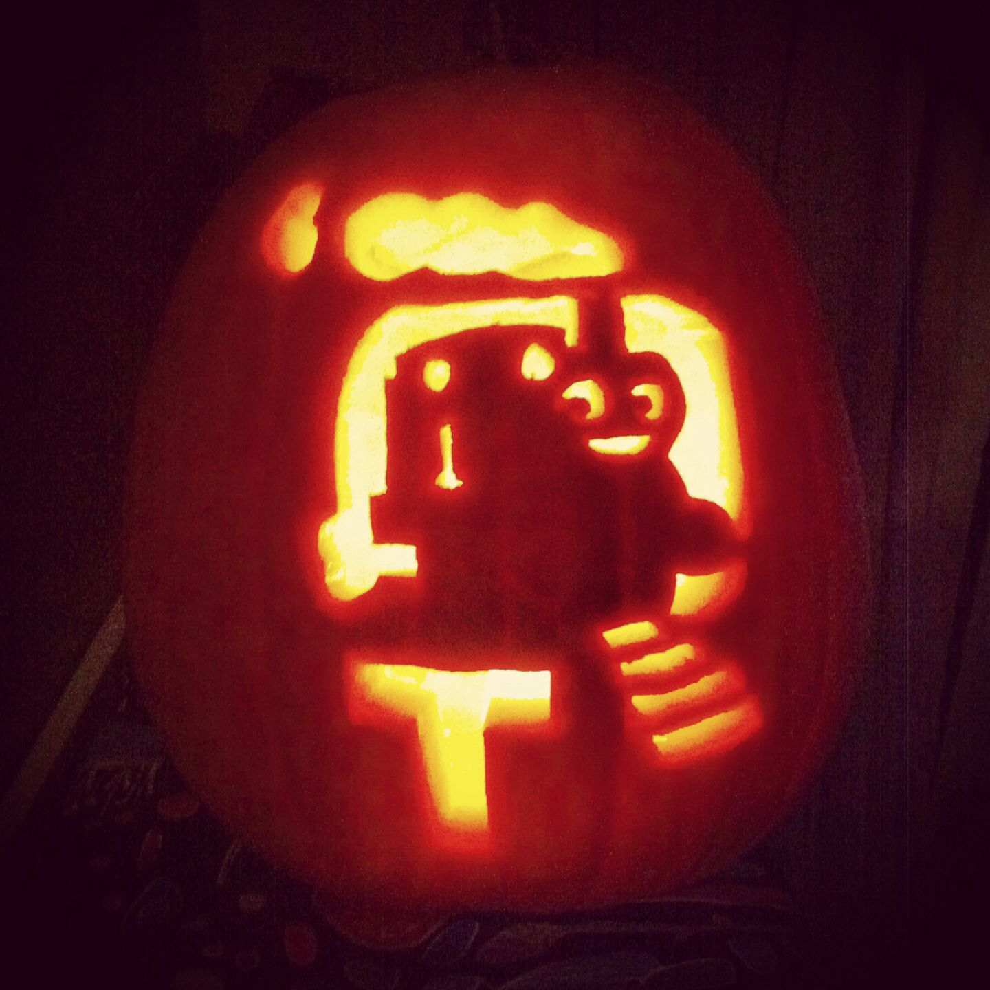 "Meet our ""Thomas O'Lantern"" 2013 #pumpkinfun #Halloween #TrickorTreat"