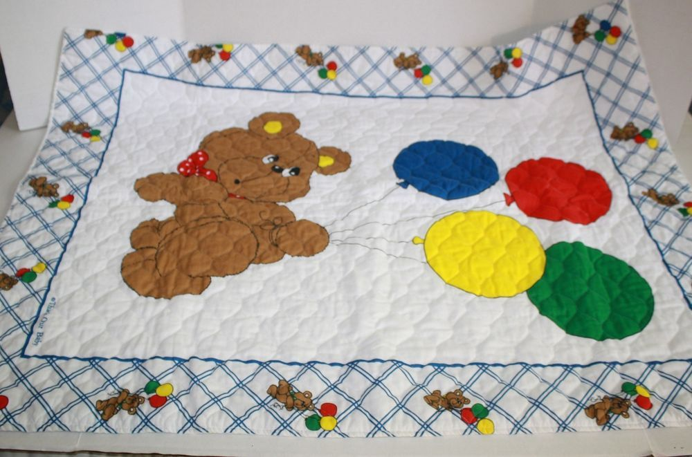 Thats Our Baby Bear Holds Red Blue Yellow Balloon Blanket