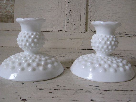 Fenton Milk Glass Hobnail Candle Taper Holders Kitchen
