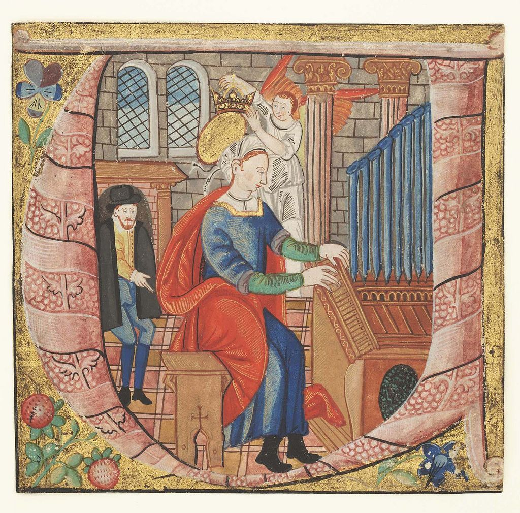 https://flic.kr/p/8ZkALM | Initial U with St. Cecilia playing the organ and being crowned by an angel. Philadelphia, Free Library of Philadelphia, Rare Book Department Lewis E M 018-11 | mcai180111, Wed Jan 11, 2006,  9:44:03 AM, 16C, 4926x4822,  (1800+2484), 100%, bent 6 stops,  1/30 s, R75.1, G62.4, B72.7