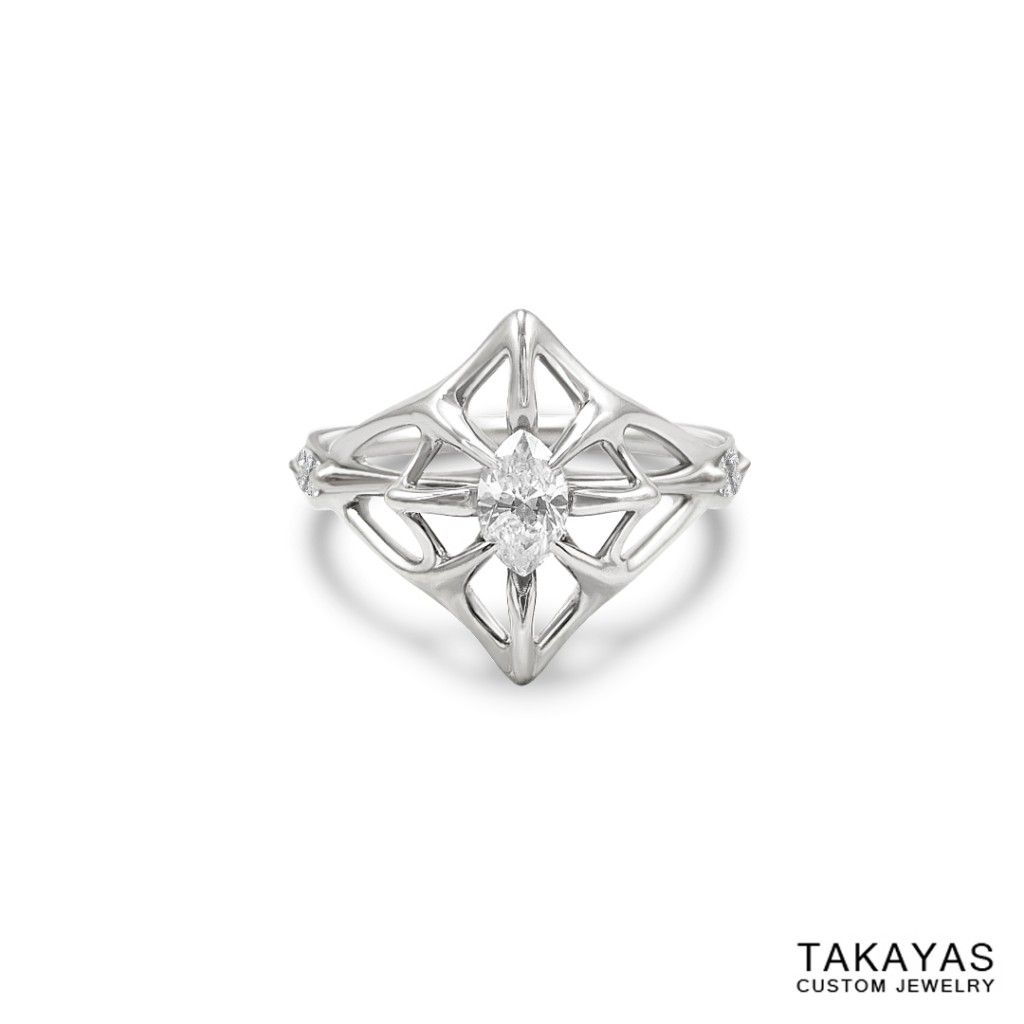 Popular Custom K white gold and marquise diamond Lord of the Ring inspired Elven engagement ring for