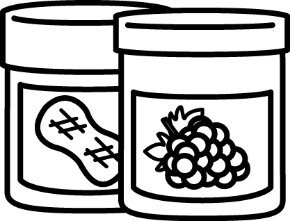Black And White Jar Of Peanut Butter And Jelly White Jar Peanut Butter Jelly