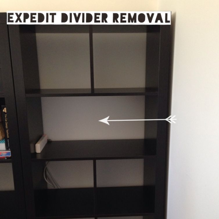 expedit divider removal ikea hack thriftea kallax. Black Bedroom Furniture Sets. Home Design Ideas