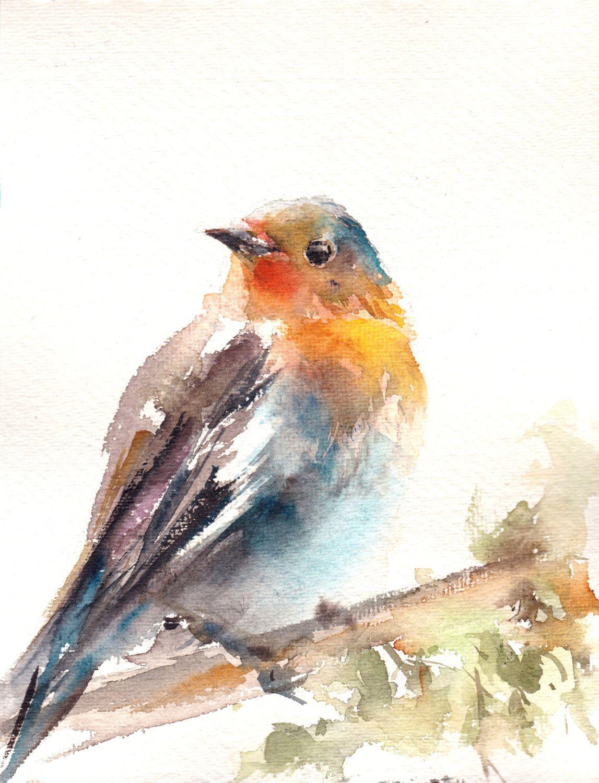 Robin Bird Painting Original Watercolor Painting Bird Painting