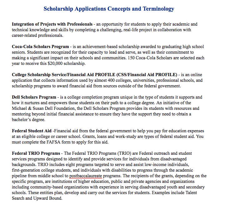 Scholarship Applications Concepts And Terminology Scholarships Application Scholarships How To Find Out
