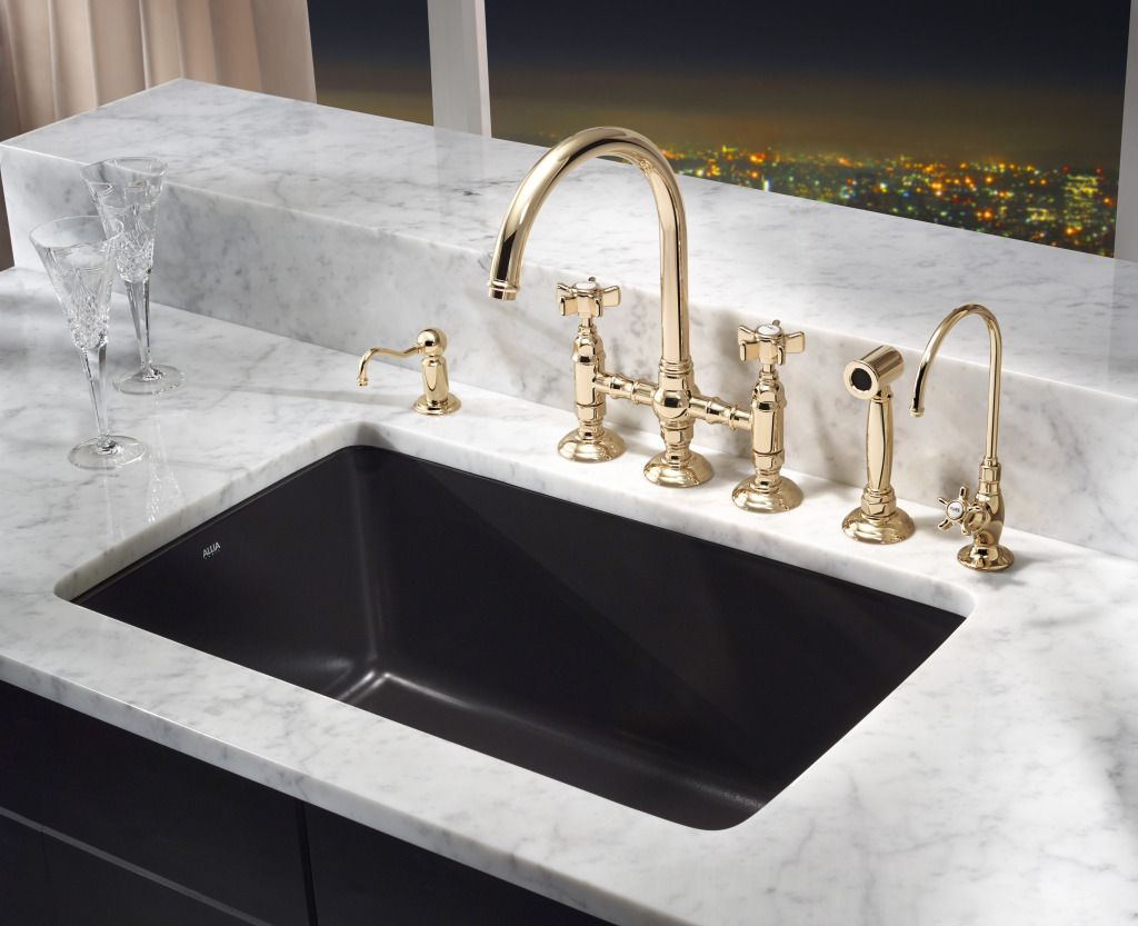 ROHL Allia Fireclay Single Bowl Undermount Kitchen Sink In Matte - Brass faucets kitchen