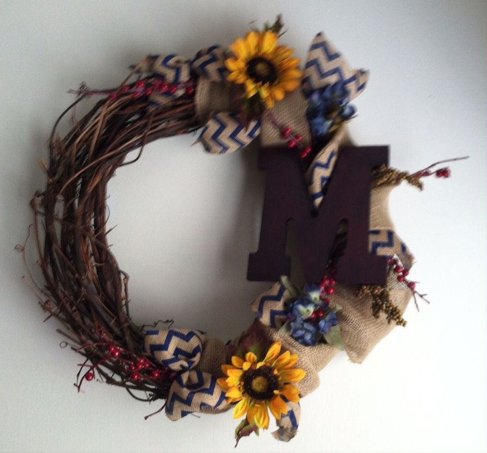 Grapevine wreath with Sunflowers and berries