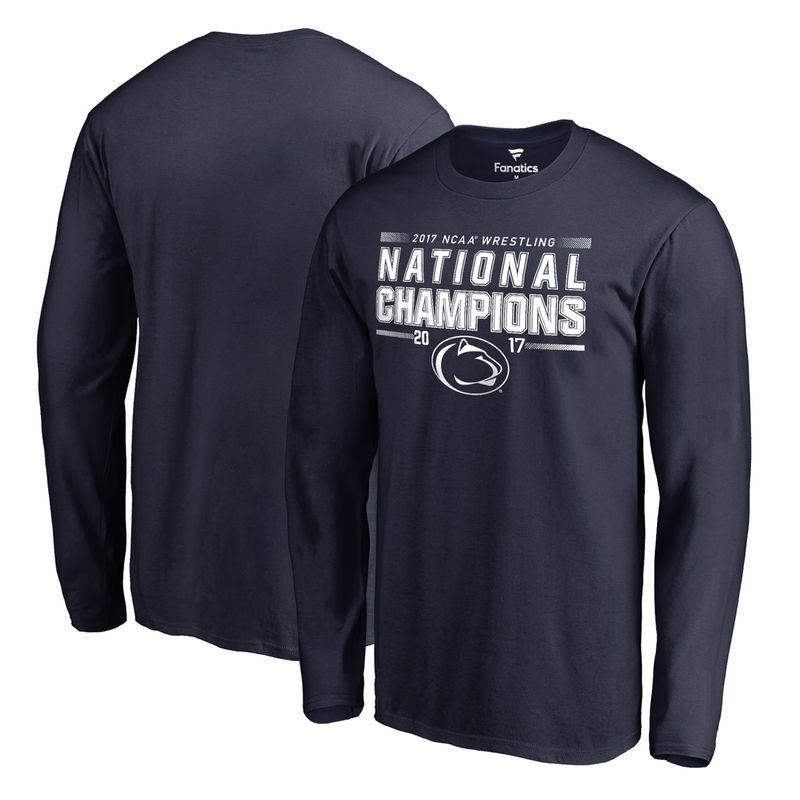 brand new 62944 9d539 Penn State Nittany Lions Fanatics Branded 2017 NCAA Wrestling National  Champions Long Sleeve T-Shirt - Navy