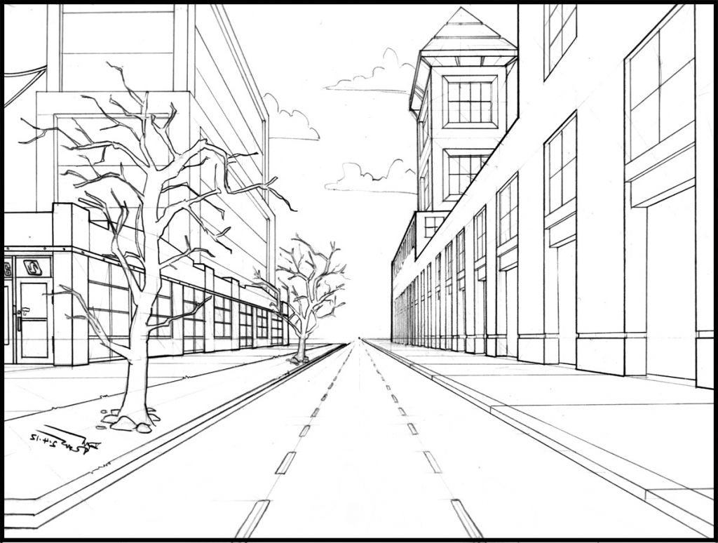 Easy one point perspective drawing easy one point perspective drawing drawing arts sketch