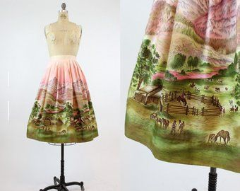 80ddb8861421 50s Skirt John Wolfe Western Corral XS   1950s Vintage Cotton Full Skirt    Montana Skies Skirt