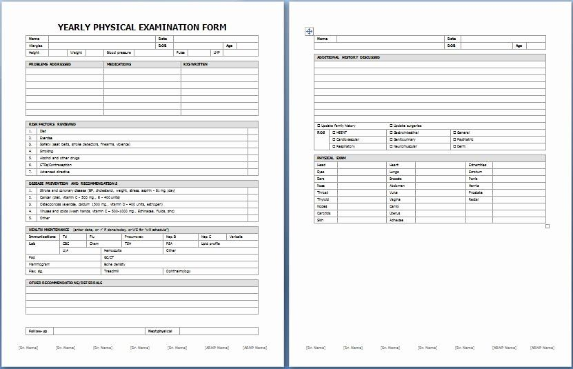 Physical Examination Forms Template In 2020 Physics Editable