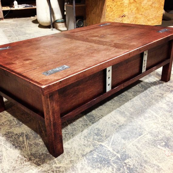 Coffee Table Hidden Chairs: Coffee Table With Hidden Gun Storage On Etsy, $550.00