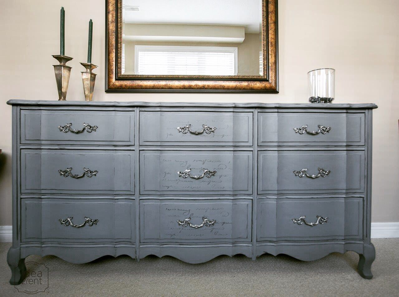 Provincial further grey painted french provincial bedroom furniture - French Procincial Gray Chalk Painted Dresser With Silver Accents
