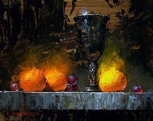 """Three Clementines"" - Pintura a óleo sobre tela de David Cheifetz"