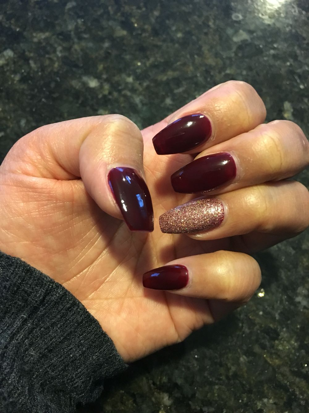 Burgundy Coffin Nails Burgundy Nails Shiny Nails Designs Trendy Nails