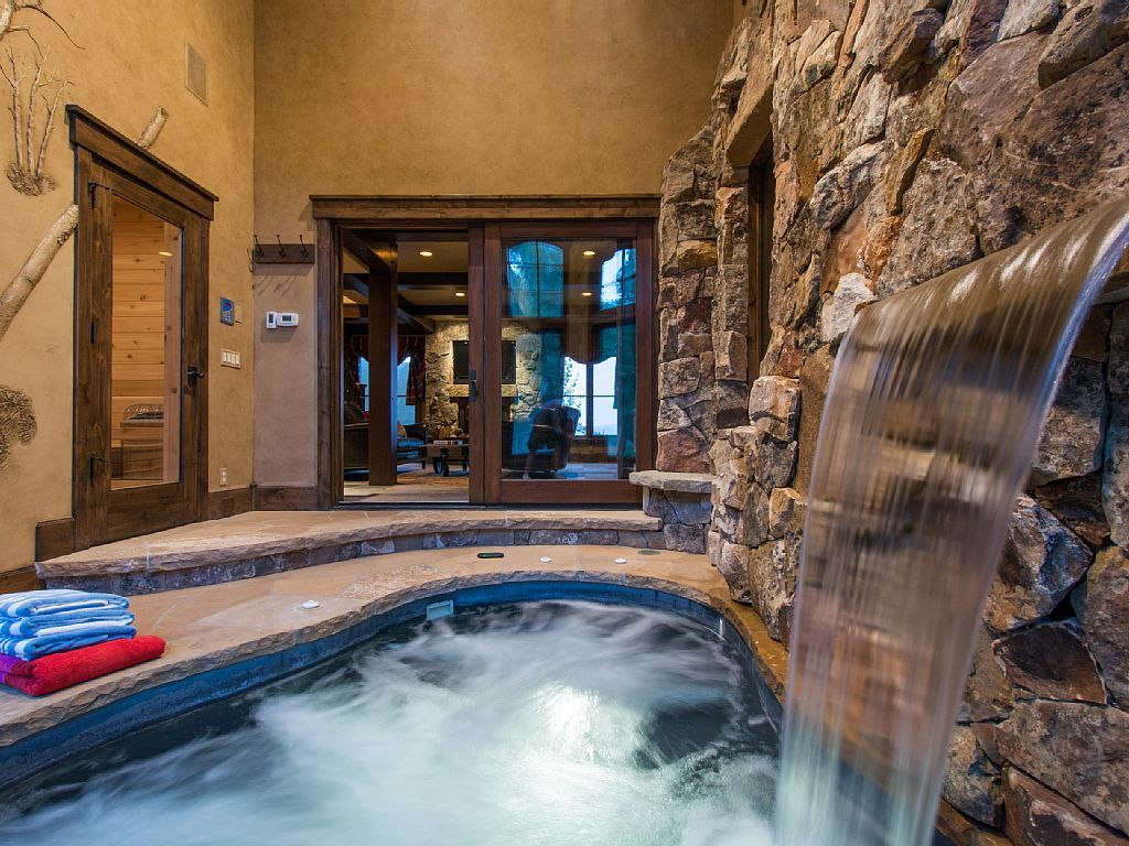 It Would Be Awesome To Include A Waterfall Into The Endless Pool Just For Fun Hot Tub Room Indoor Hot Tub Indoor Jacuzzi
