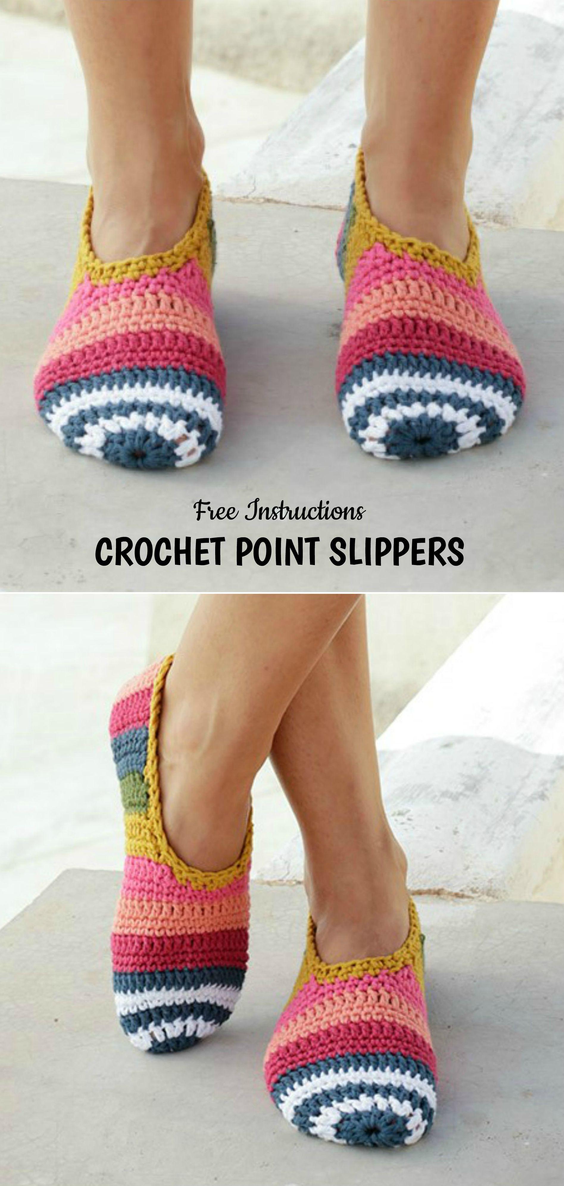 Crochet Point Slippers | Pinterest | Socken häkeln, Häkeln und ...