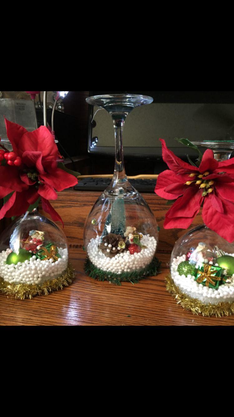 Snow Globe Wine Glasses Christmas Crafts Decorations Christmas