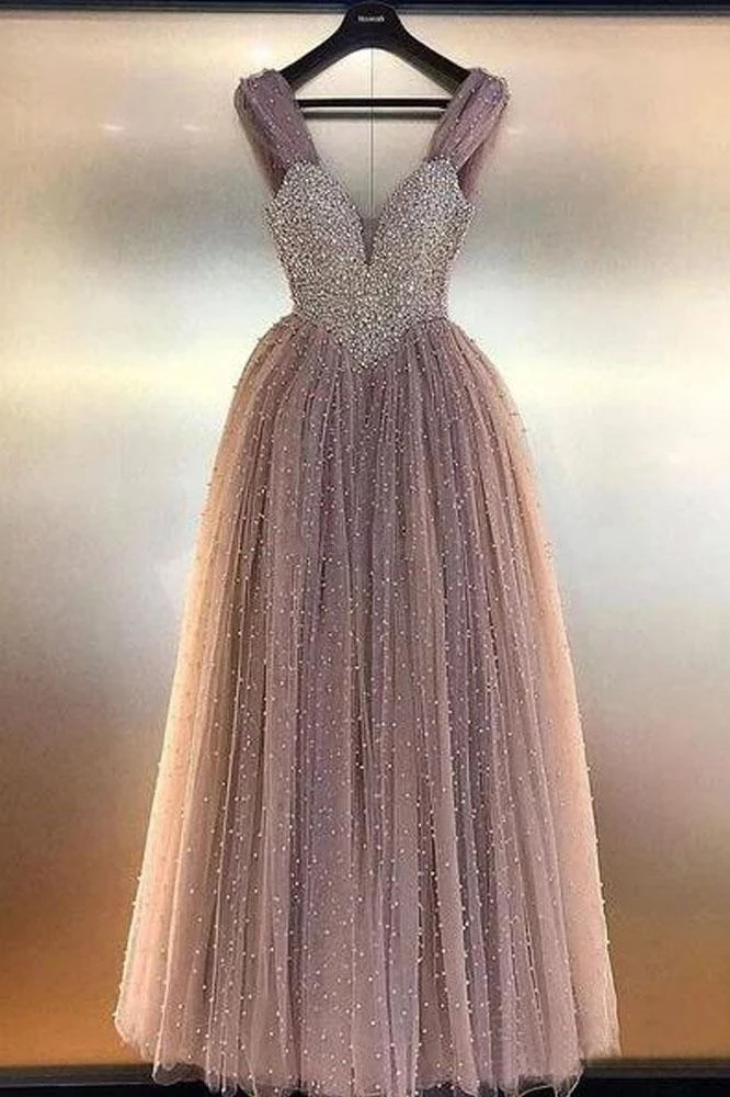 Luxurious A Line V Neck Backless Blush Tulle Long Prom Dresses with Straps Beading H1133