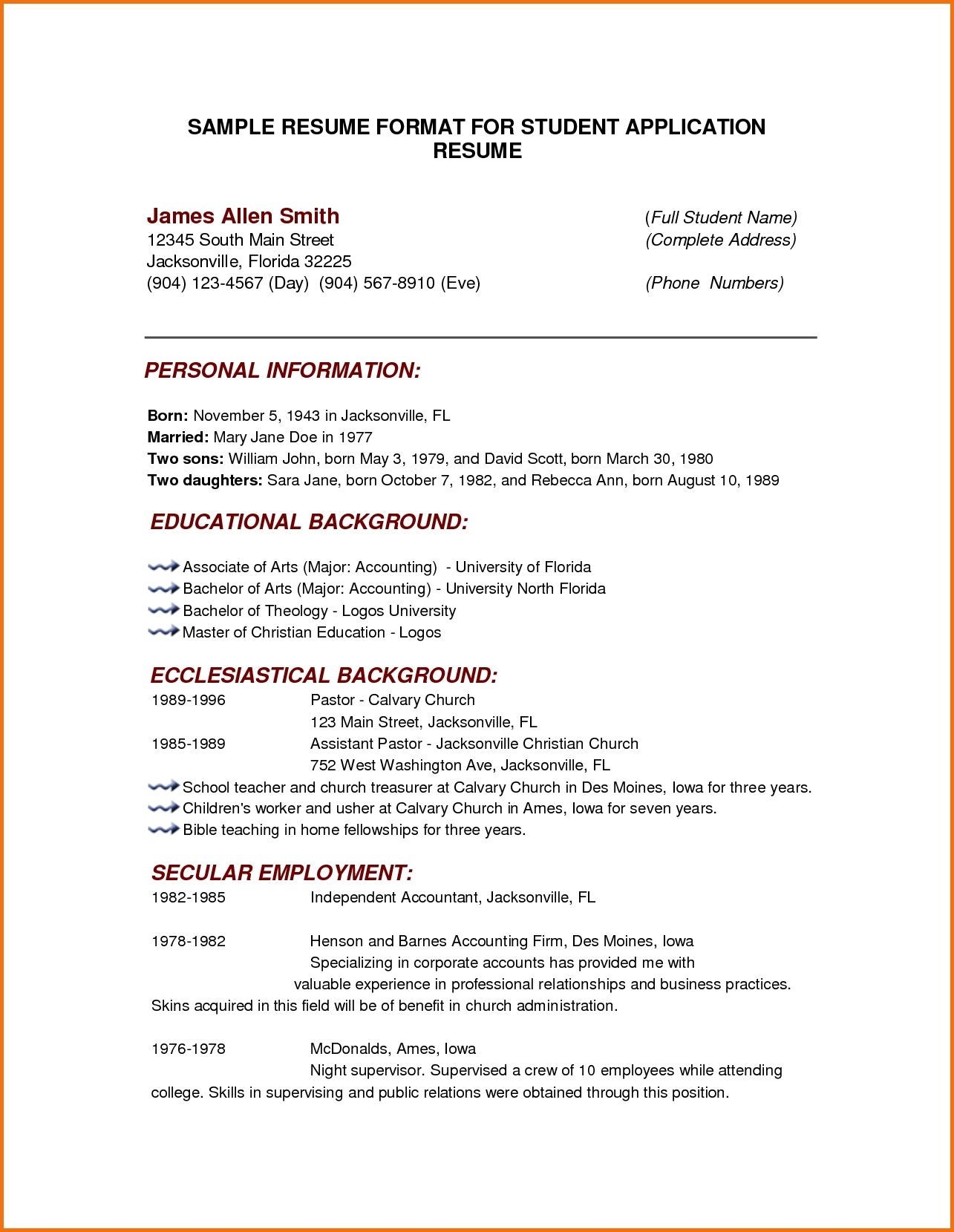 Business Resume Template Word Format Download Pdf Sample Resumes