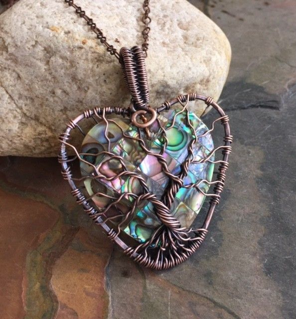 Abalone Tree of Life Copper wire Pendant, Wire Wrapped Abalone Tree | ElegantJewelDesign - on ArtFire