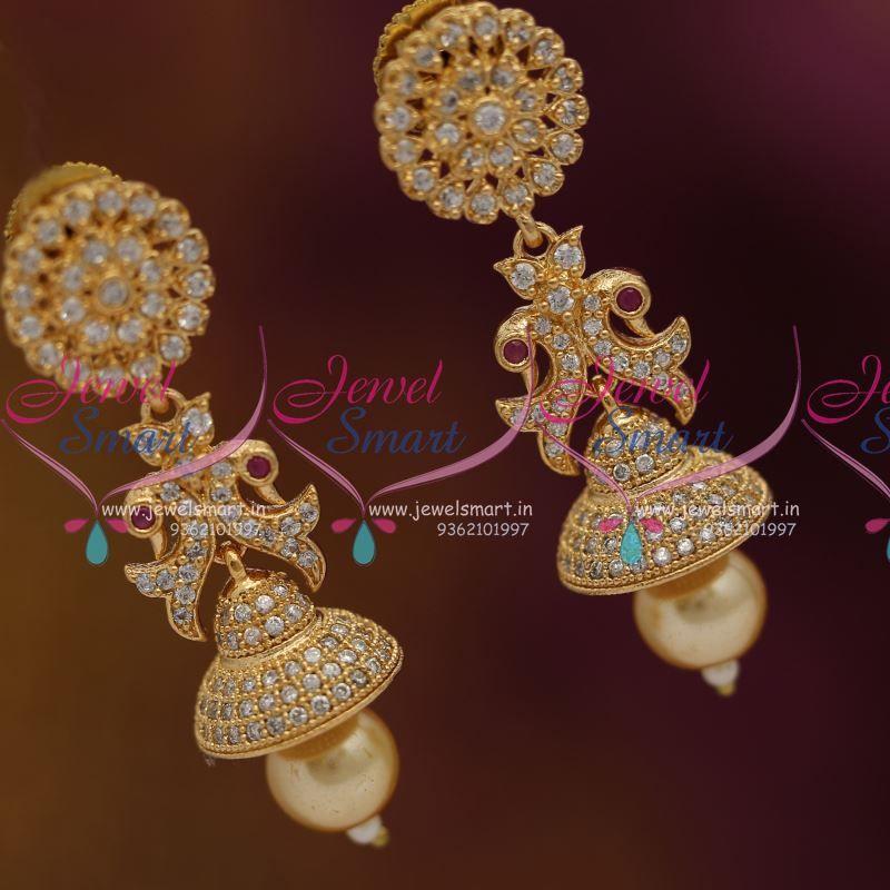 cz-white-pearl-drops-latest-low-price-jhumka-earrings-buy-online ...