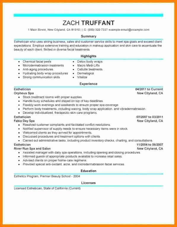 entry level esthetician resume inspirational 5 esthetician