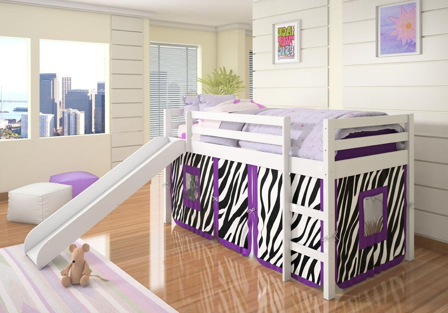 Slide for loft bed  Alexis White Loft Bed with Slide and Purple Zebra Tent