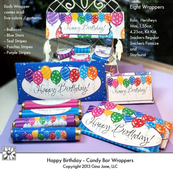 Happy birthday printables hershey candy bar wrappers diy party favors for kids tweens teens for Diy candy bar wrapper