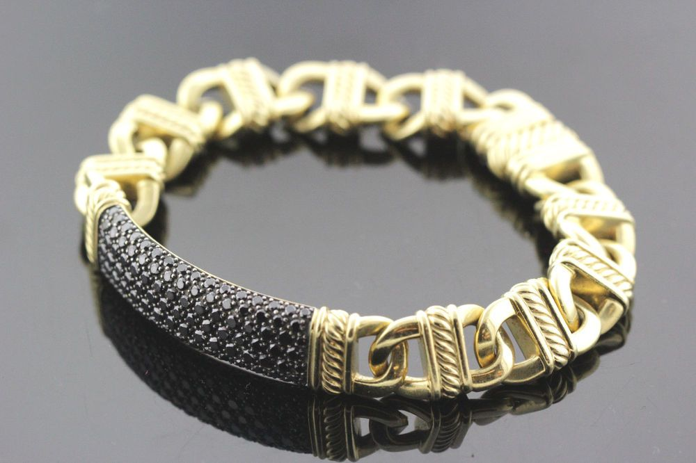 18k Yellow Gold Black Diamond David Yurman Mens Bracelet 3 30 Tcw 82 5g Davidyurman