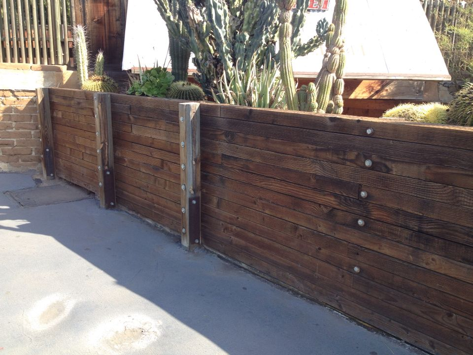 Wood Retaining Wall Pressure Treated 4x4 And 4x6 Are