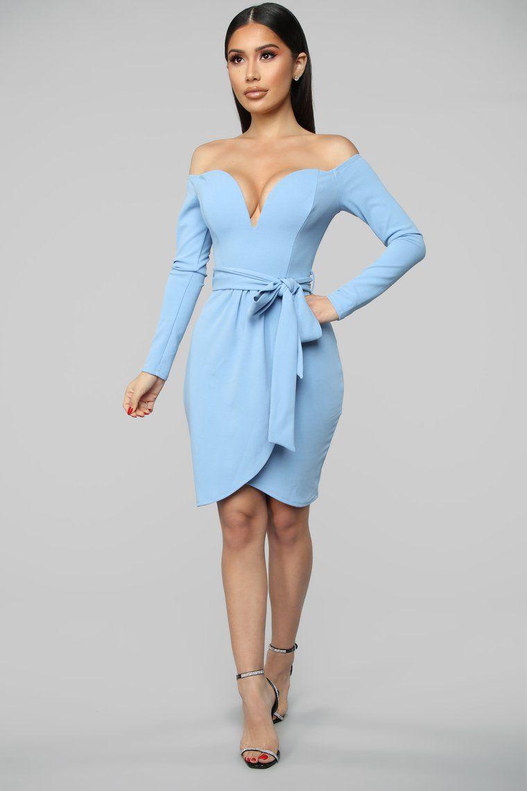 Good Impressions Off Shoulders Mini Dress Powder Blue Powder Blue Dress Mini Dress Work Dresses For Women