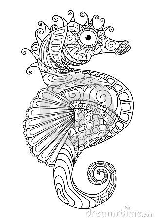 Hand Drawn Sea Horse Zentangle Style For Coloring Paget Shirt Design Effectlogo