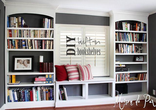 Diy Built In Bookshelves Built In Bookcase Home Office Bookshelves