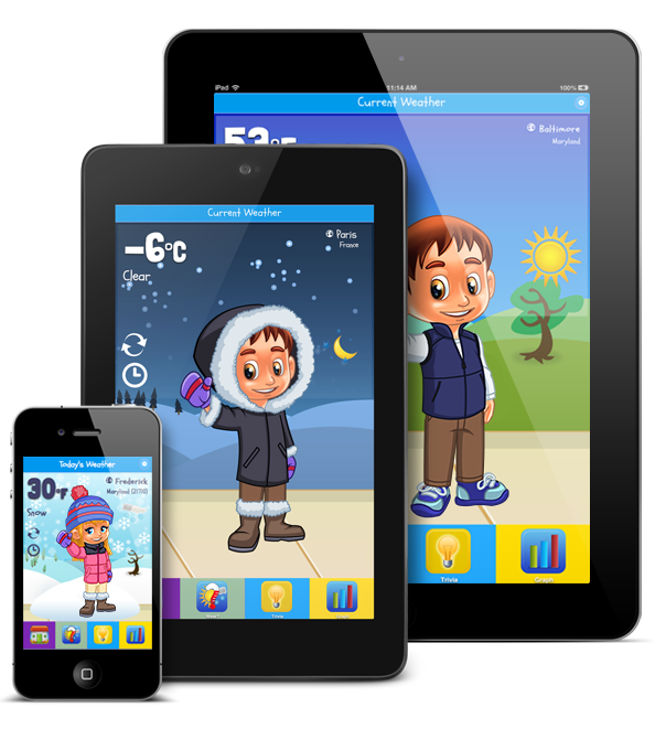 Kid Weather is an Educational Weather App for iPhone, iPad