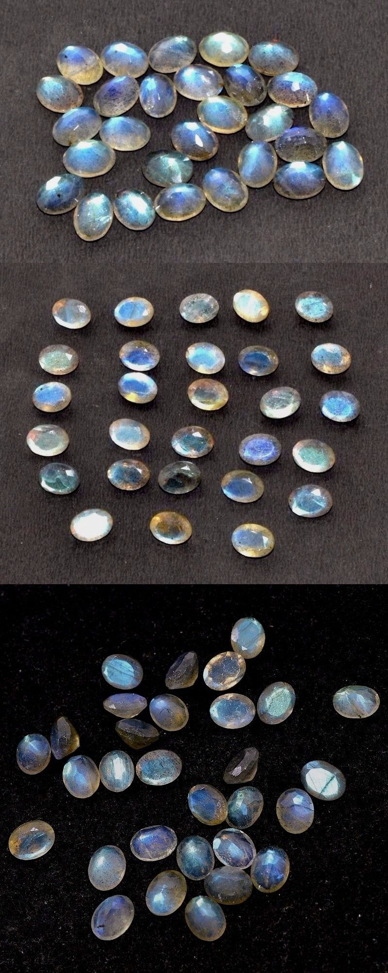Labradorite 164393: 41.40 Ct.100% Natural Blue Fire Labradorite Faceted Cut Oval 25 Pcs 8X6 Gemstone BUY IT NOW ONLY: $38.0