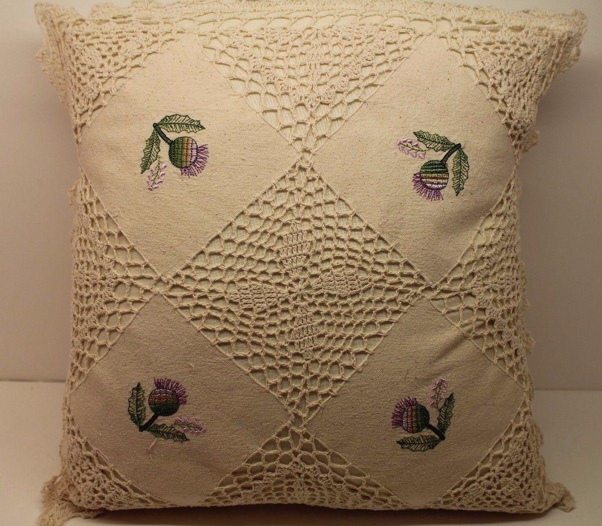 New pack crochet knit cushion cover cream green cotton handmade
