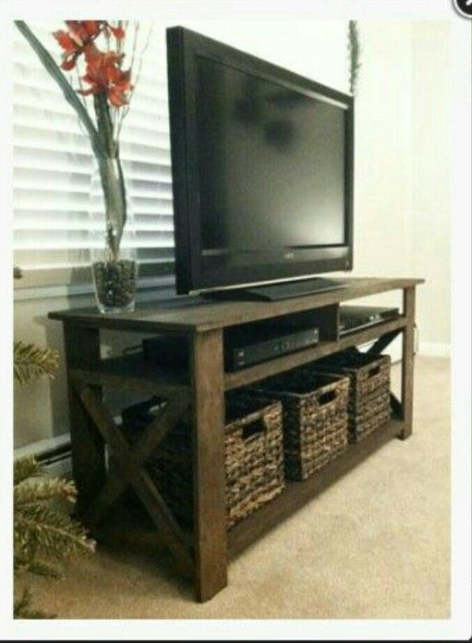 Created A Rustic Tv Stand From Old Palettes Need Someone With The Carpenter Skills For This Bad Boy I Would Paint Darker Grayish Blue Our