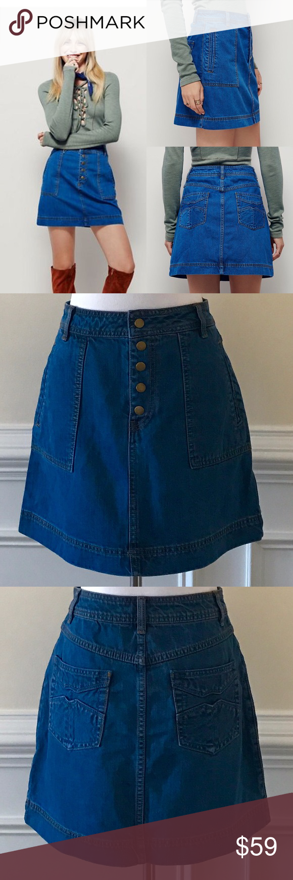 New Free People Wildfire Denim Mini Skirt Size 26 Inspired by decades past, this denim mini skirt features exposed button closures down the front and seam detailing. Hip slip pockets and traditional back pockets with a design.  Tag cut in store to prevent returns.  New without tags.