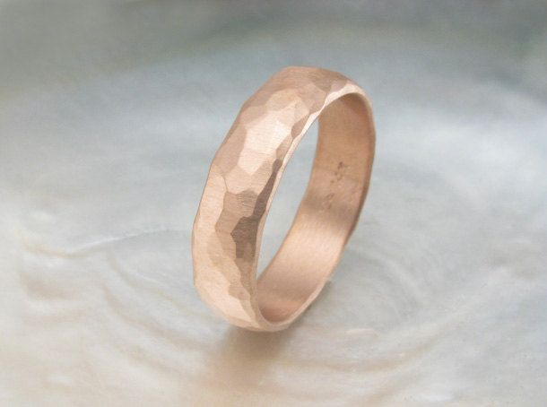rustic rose gold wedding ring 6mm wide organic rugged hand