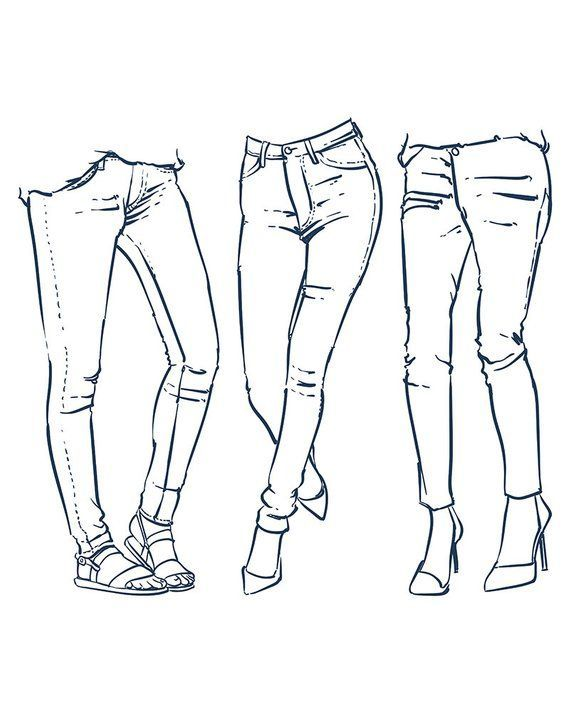 Hand drawn women's fashionable denim jeans outline. | Etsy