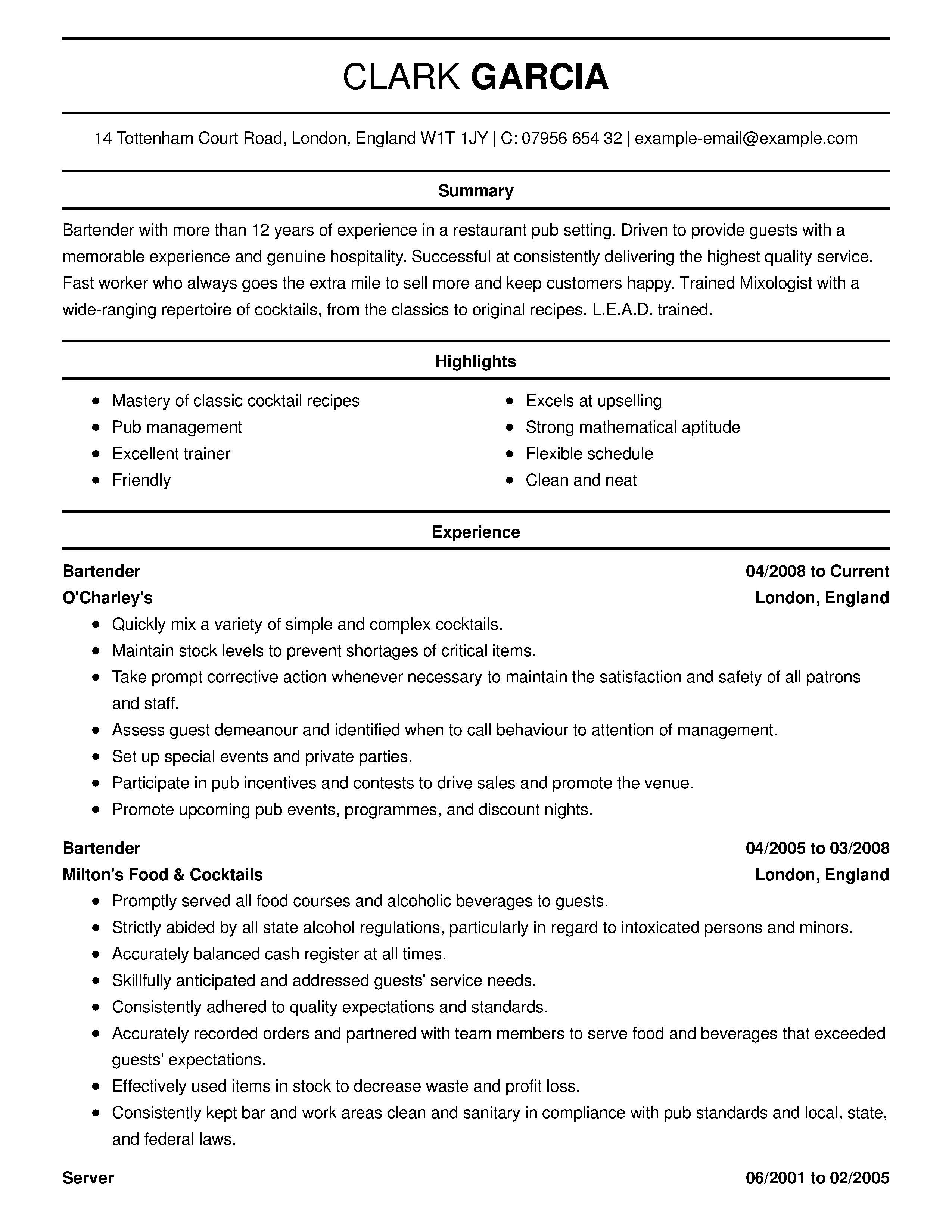 professional bartender resume sles Resume skills, Resume