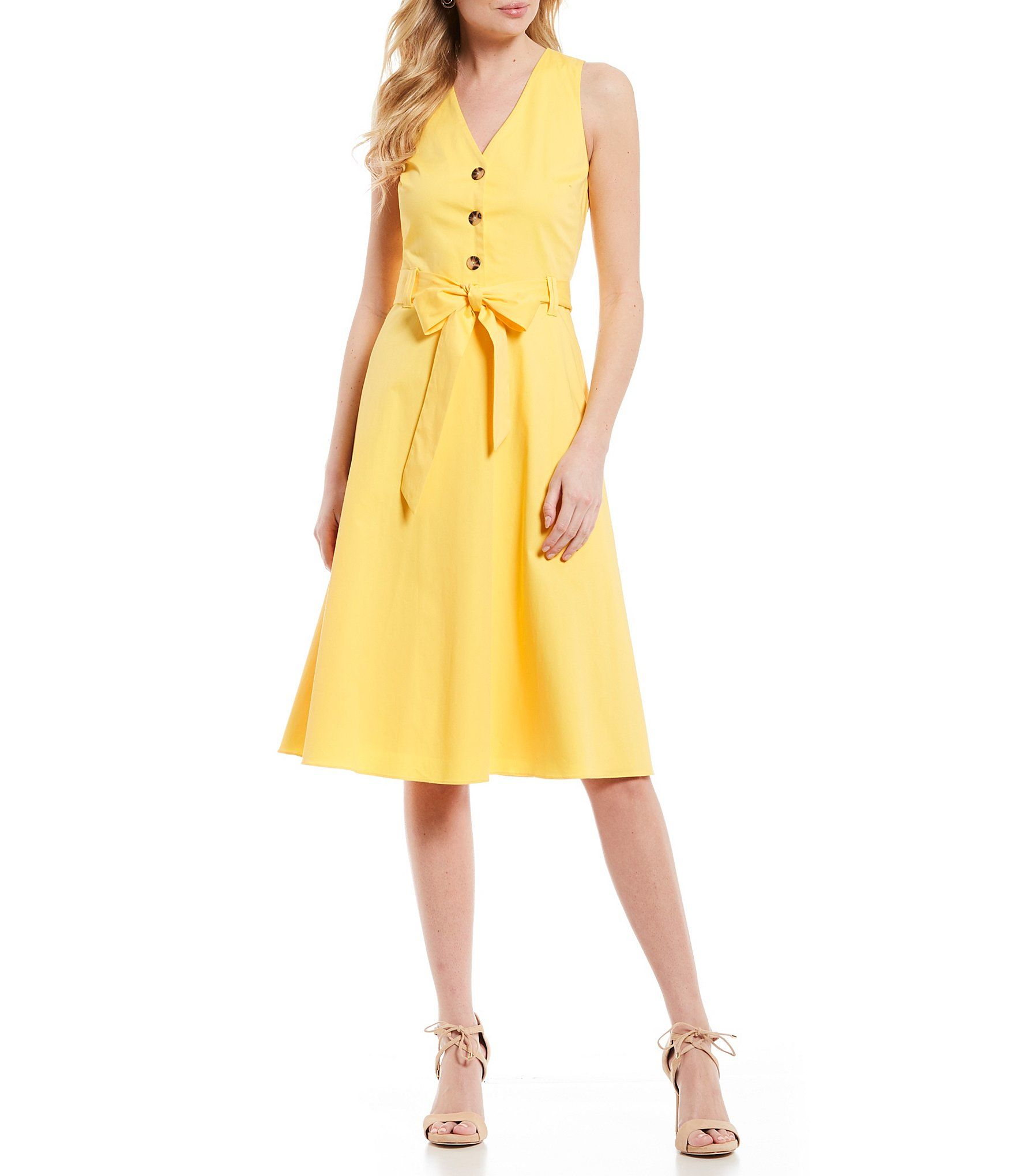 d34e8338b9d Antonio Melani Jenna Sateen Bow Belt A-Line Midi Dress  Dillards ...
