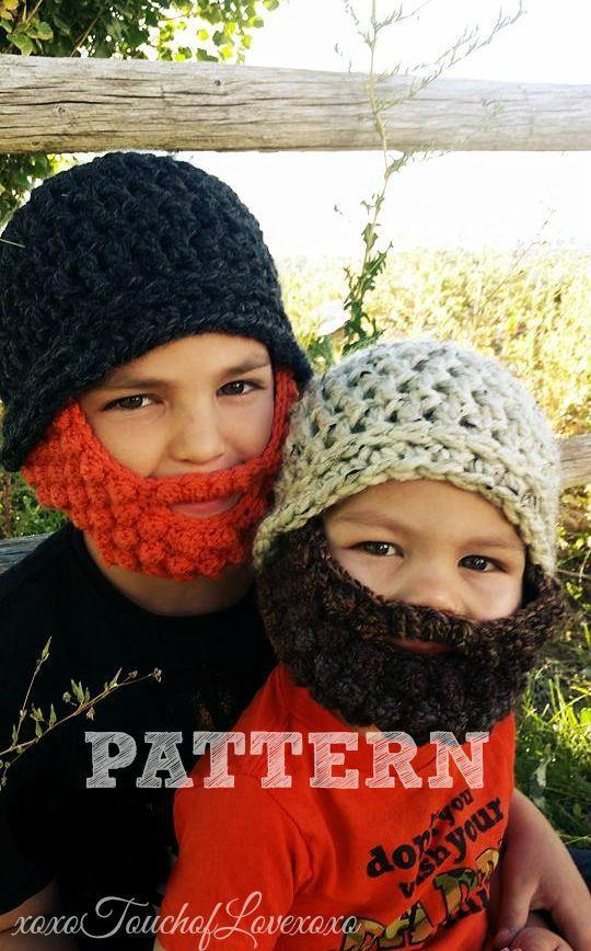 PATTERN Beard Beanie Crochet Hat