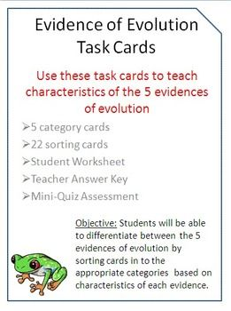 Evidence of Evolution Task Cards with BONUS Mini-Quiz for FREE ...