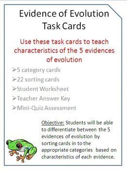 evidence of evolution task cards with bonus mini quiz for free pinterest evolution teaching biology and life science - Evidence Of Evolution Worksheet