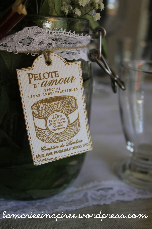"""lot de 25 étiquettes """"pelote d'amour"""" noce de coton : faire-part par"""