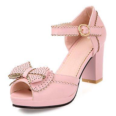 Кожи женщин Коренастый пятки Peep Toe сандалии с пряжкой обувь (больше цветов) – USD $ 34.99