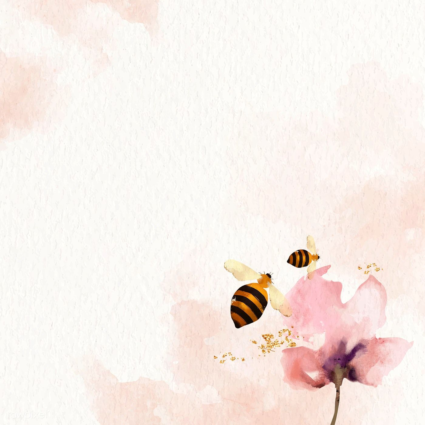 Honey Bees and flower watercolor background vector
