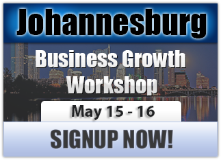 The Business Growth Workshop will be in Johannesburg South Africa on May 15th!  RESERVE YOUR SEAT NOW! http://www.megapartnering.com/business_growth_workshop/johannesburg/